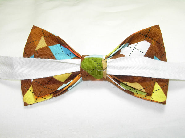 Trendy Argyle Bow tie / Brown, Orange, Yellow, Light Blue & Green / Pre-tied Bow tie - Bow Tie Expressions