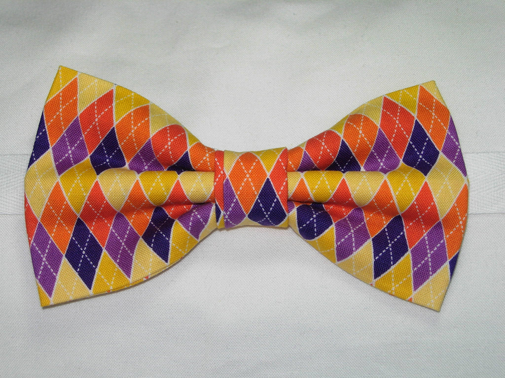 HARVEST BOUNTY ARGYLE PRE-TIED BOW TIE - ORANGE, YELLOW & PURPLE - Bow Tie Expressions  - 1