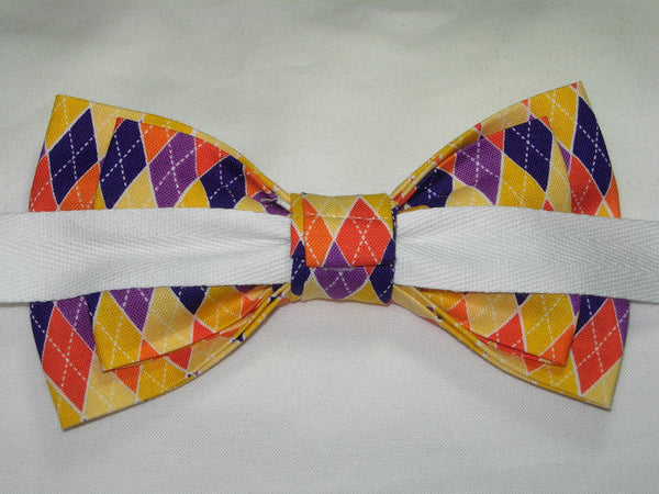 HARVEST BOUNTY ARGYLE PRE-TIED BOW TIE - ORANGE, YELLOW & PURPLE - Bow Tie Expressions  - 3
