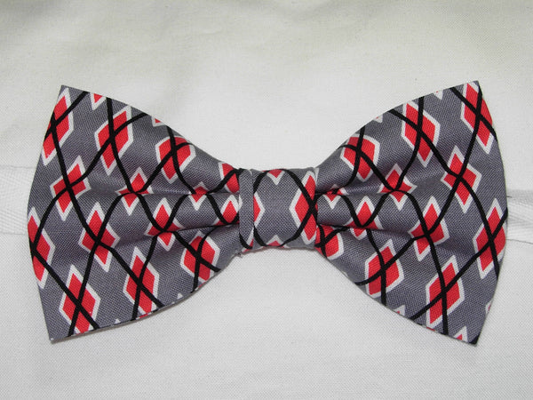 Trendy Argyle Bow tie / Graphite Gray, Red, Black & White / Self-tie & Pre-tied Bow tie - Bow Tie Expressions