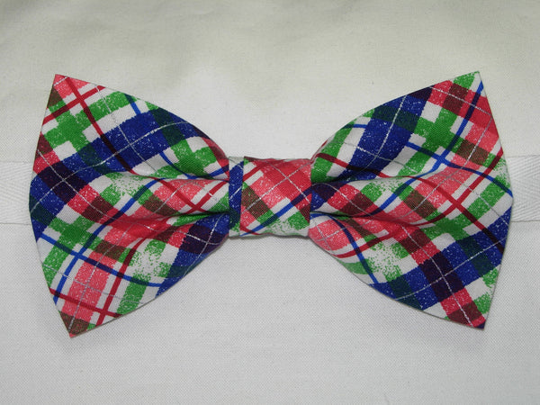 SNOWY CHRISTMAS PLAID PRE-TIED BOW TIE - RED, GREEN, BLUE & WHITE PLAID - Bow Tie Expressions  - 1