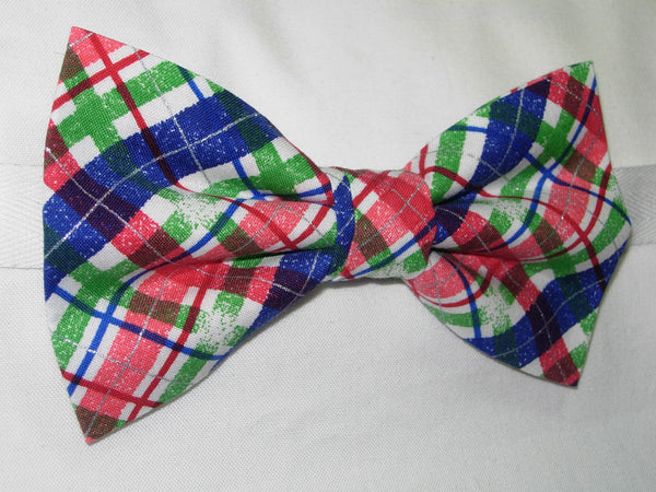 SNOWY CHRISTMAS PLAID PRE-TIED BOW TIE - RED, GREEN, BLUE & WHITE PLAID - Bow Tie Expressions  - 2