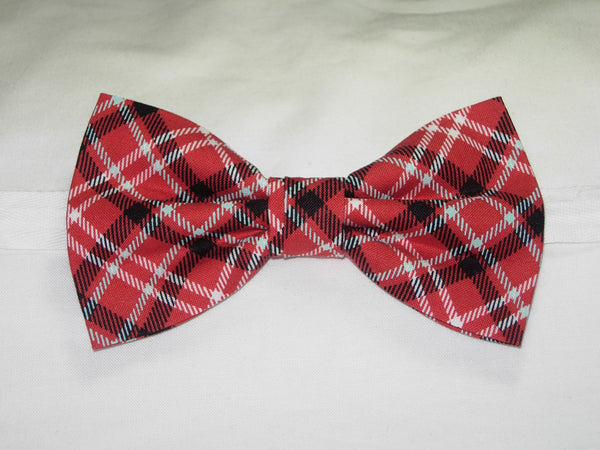 APPLE ORCHARD PLAID PRE-TIED BOW TIE - BLACK, WHITE & LIGHT BLUE PLAID ON APPLE RED - Bow Tie Expressions  - 1