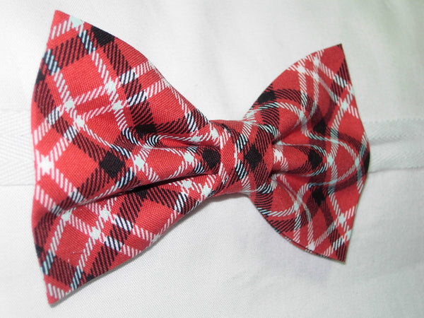 APPLE ORCHARD PLAID PRE-TIED BOW TIE - BLACK, WHITE & LIGHT BLUE PLAID ON APPLE RED - Bow Tie Expressions  - 2