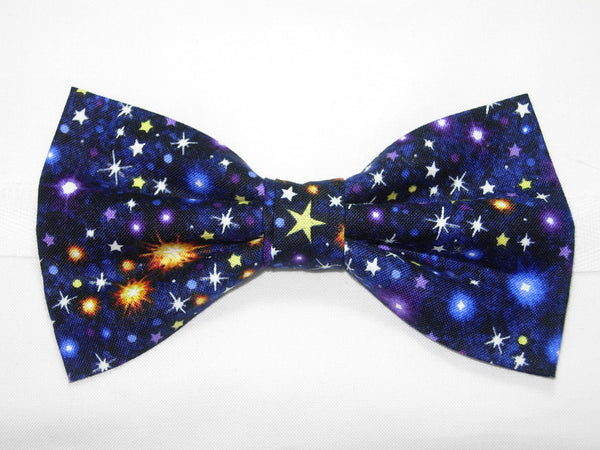 Galaxy Bow Tie / Twinkling Stars in Outer Space / Navy Blue Bow tie / Self-tie & Pre-tied Bow tie