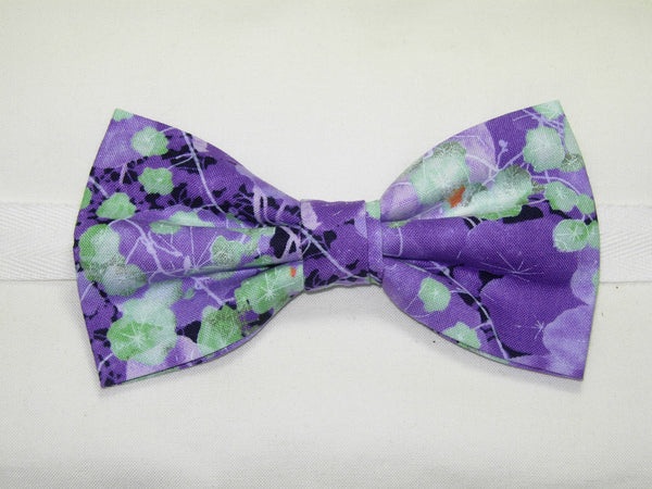 LAVENDER FIELD BOW TIE - PURPLE VIOLETS WITH MINT GREEN LEAVES - Bow Tie Expressions  - 2