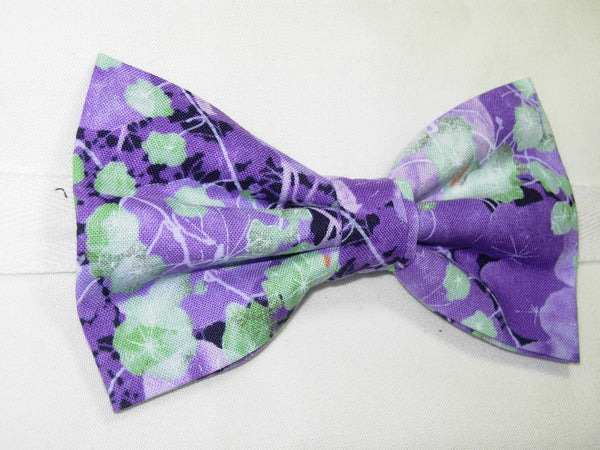 LAVENDER FIELD BOW TIE - PURPLE VIOLETS WITH MINT GREEN LEAVES - Bow Tie Expressions  - 3