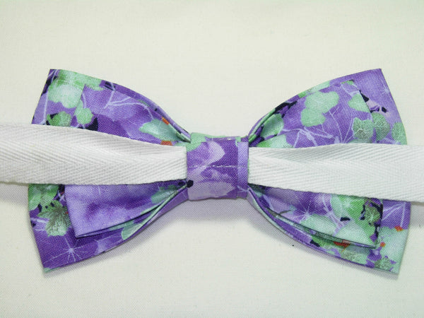 LAVENDER FIELD BOW TIE - PURPLE VIOLETS WITH MINT GREEN LEAVES - Bow Tie Expressions  - 4