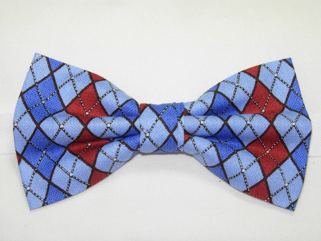 LET IT SNOW ARGYLE PRE-TIED BOW TIE - RED, LIGHT BLUE & ROYAL BLUE - Bow Tie Expressions  - 1