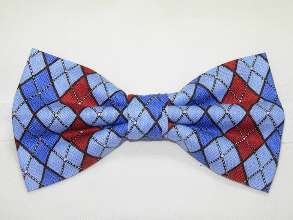 LET IT SNOW ARGYLE BOW TIE - RED, LIGHT BLUE & ROYAL BLUE - Bow Tie Expressions  - 2
