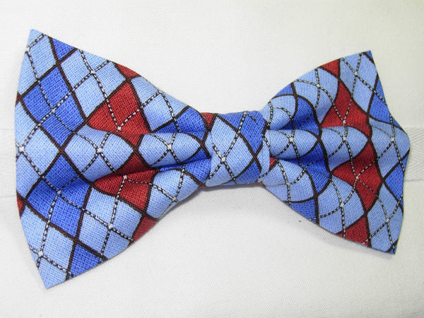 LET IT SNOW ARGYLE PRE-TIED BOW TIE - RED, LIGHT BLUE & ROYAL BLUE - Bow Tie Expressions  - 2