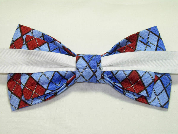 Trendy Argyle Bow tie / Light Blue, Royal Blue & Red / Pre-tied Bow tie - Bow Tie Expressions