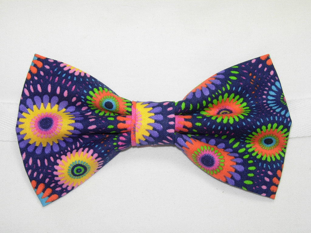 RETRO ABSTRACT DAISY WHEELS PRE-TIED BOW TIE - PINK, PURPLE, YELLOW, GREEN & BLUE ON A DARK PURPLE BACKGROUND - Bow Tie Expressions  - 1