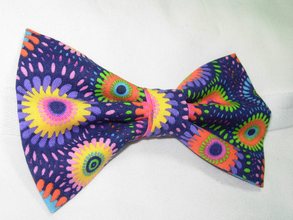 RETRO ABSTRACT DAISY WHEELS PRE-TIED BOW TIE - PINK, PURPLE, YELLOW, GREEN & BLUE ON A DARK PURPLE BACKGROUND - Bow Tie Expressions  - 2