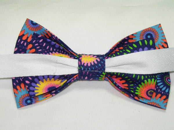 RETRO ABSTRACT DAISY WHEELS PRE-TIED BOW TIE - PINK, PURPLE, YELLOW, GREEN & BLUE ON A DARK PURPLE BACKGROUND - Bow Tie Expressions  - 3