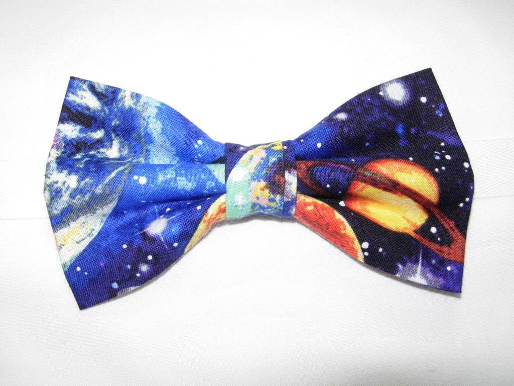 Outer Space Bow tie / Planets & Stars / Deep Blue Galaxy / Pre-tied Bow tie - Bow Tie Expressions
