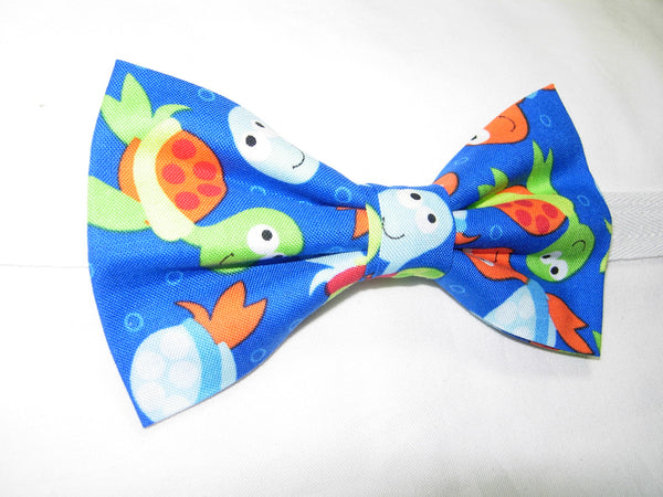 COLORFUL BABY SEA TURTLES TOSSED ON ROYAL BLUE PRE-TIED BOW TIE - ORANGE, GREEN & BLUE - Bow Tie Expressions  - 2