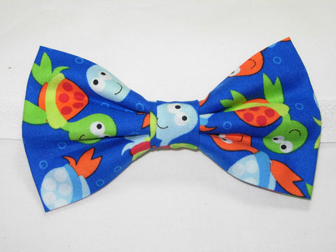 COLORFUL BABY SEA TURTLES TOSSED ON ROYAL BLUE PRE-TIED BOW TIE - ORANGE, GREEN & BLUE - Bow Tie Expressions  - 1