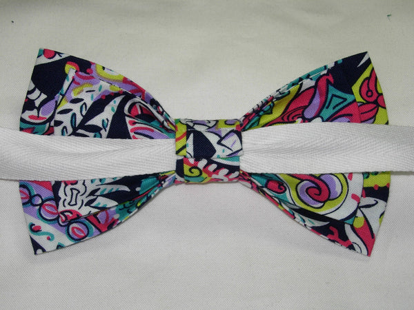 FEATHERS & FLOWERS PRE-TIED BOW TIE - TEAL GREEN, PINK, LAVENDER, RED, YELLOW ON BLACK - Bow Tie Expressions