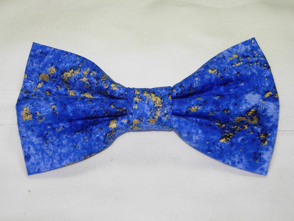 COBALT BLUE GRANITE TEXTURE WITH METALLIC GOLD FLAKES BOW TIE - Bow Tie Expressions  - 2