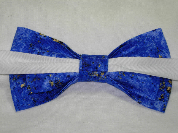 COBALT BLUE GRANITE TEXTURE WITH METALLIC GOLD FLAKES BOW TIE - Bow Tie Expressions  - 4