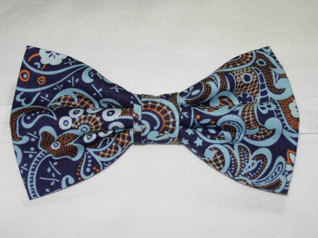 MODERN LACE PRE-TIED BOW TIE - LIGHT BLUE & ORANGE LACE DESIGN ON NAVY BLUE - Bow Tie Expressions