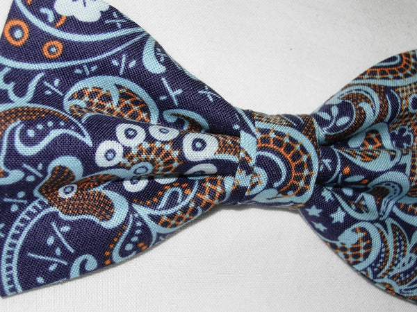 MODERN LACE BOW TIE - LIGHT BLUE & ORANGE LACE DESIGN ON NAVY BLUE - Bow Tie Expressions