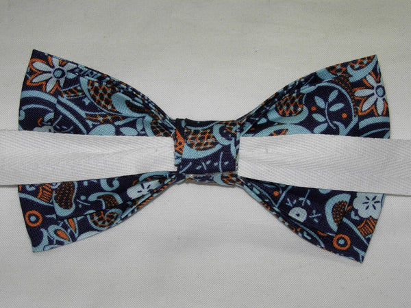 MODERN LACE BOW TIE - LIGHT BLUE & ORANGE LACE DESIGN ON NAVY BLUE