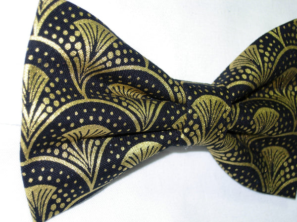 Gold & Black Bow tie / Trendy Metallic Gold Art Deco Fans / Pre-tied Bow tie