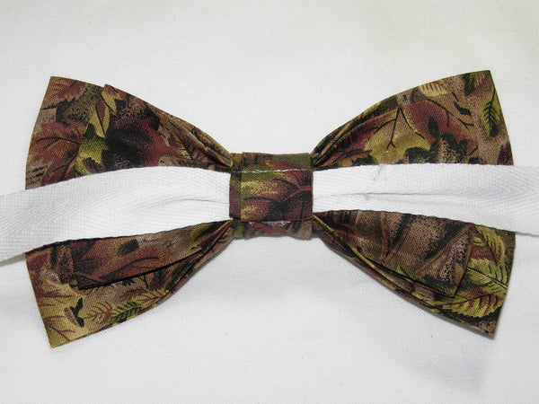 FOREST FLOOR CAMO PRE-TIED BOW TIE - GREEN & BROWN LEAVES WITH TREE TRUNKS