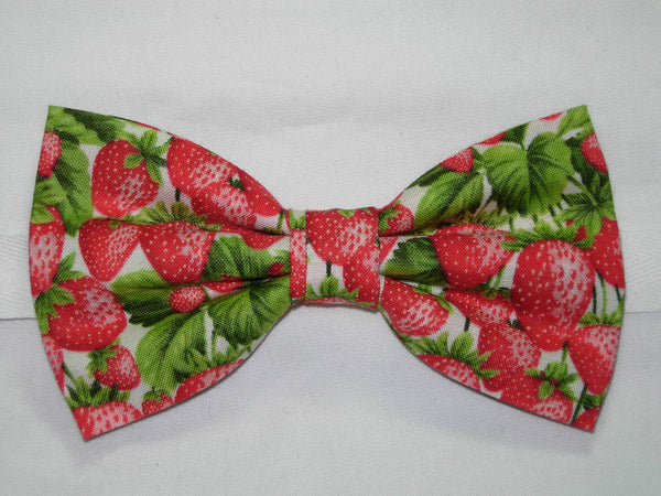 Strawberry Bow tie / Red Strawberries & Green Leaves on White / Pre-tied Bow tie - Bow Tie Expressions