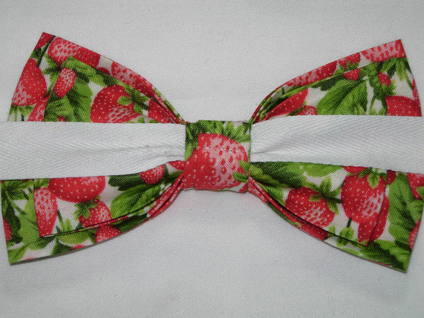 STRAWBERRY PLANTS PRE-TIED BOW TIE - Red Strawberries & Green Leaves on White