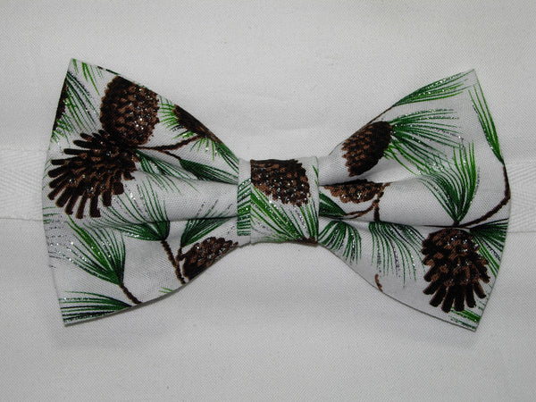 SPARKLING PINE TREE BRANCHES & PINE CONES ON WINTER WHITE BOW TIE