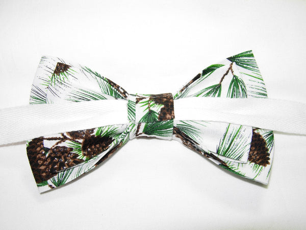 SPARKLING PINE TREE BRANCHES & PINE CONES ON WINTER WHITE PRE-TIED BOW TIE