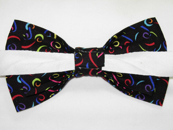 HAPPY LINES BOW TIE - COLORFUL SQUIGGLES ON BLACK