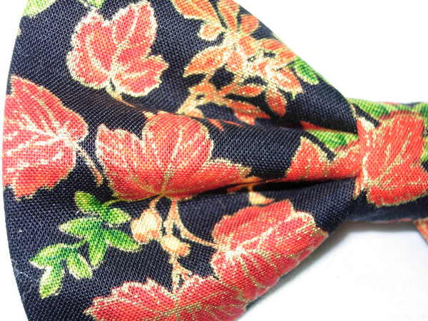 Autumn Abundance Bow Tie / Orange Fall Leaves with Metallic Gold on Black / Pre-tied Bow tie - Bow Tie Expressions