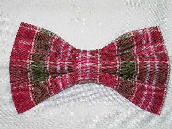 RASPBERRY RED & SAGE GREEN PLAID BOW TIE - Bow Tie Expressions