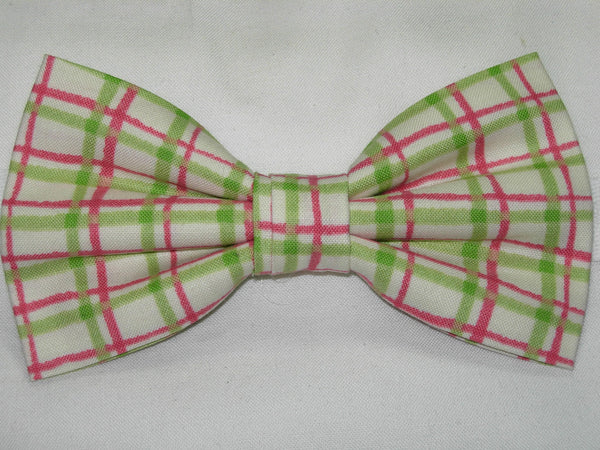 WATERMELON PLAID PRE-TIED BOW TIE - LIME GREEN, PINK & IVORY - Bow Tie Expressions