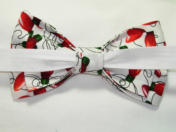 Christmas Tree Bow tie / Red String Lights on White / Self-tie & Pre-tied Bow tie - Bow Tie Expressions