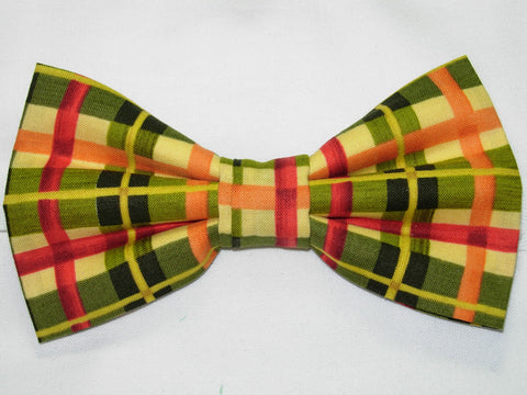 Autumn Bow tie / Red, Green, Orange Plaid / Fall Colors / Pre-tied Bow tie - Bow Tie Expressions