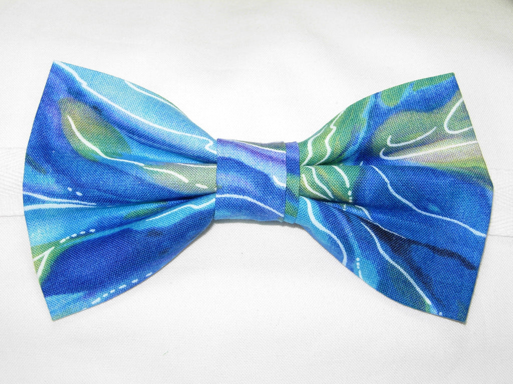 Ocean Blue Bow tie / Blue, Green & Purple Swirling Currents / Pre-tied Bow tie - Bow Tie Expressions