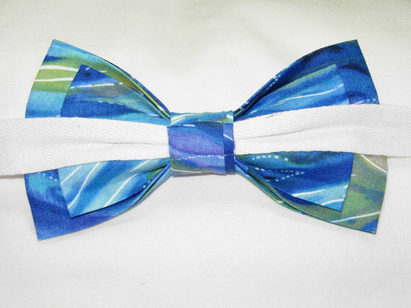 Ocean Blue Bow tie / Blue, Green & Purple Swirling Currents / Self-tie & Pre-tied Bow tie - Bow Tie Expressions