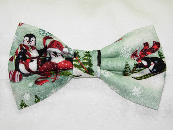 COLORFUL PENGUINS PLAYING IN SNOW BOW TIE