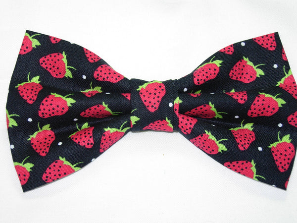 TOSSED STRAWBERRIES PRE-TIED BOW TIE - RED STRAWBERRIES ON BLACK BACKGROUND
