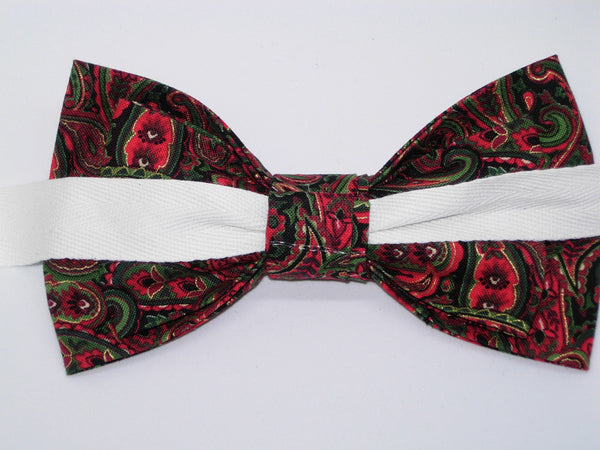 Christmas Paisley Bow tie / Red & Green Paisley / Metallic Gold / Self-tie & Pre-tied Bow tie - Bow Tie Expressions