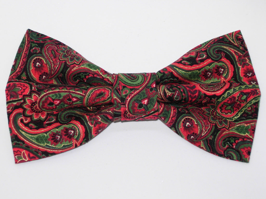 Christmas Paisley Bow tie / Red & Green Paisley / Metallic Gold / Pre-tied Bow tie - Bow Tie Expressions