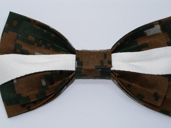 DIGITAL DEEP WOODS CAMO BOW TIE - GREEN, BROWN, GREY & BLACK CAMOUFLAGE