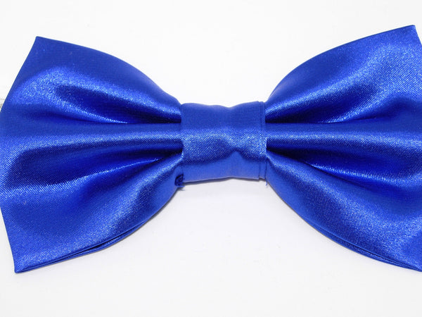 SHINY SATIN PRE-TIED BOW TIE - BLACK, FUCHSIA PINK, ROYAL BLUE, RED & JADE GREEN