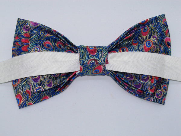 Blue Peacock Bow Tie / Blue Feathers with Metallic Gold Trim / Pre-tied Bow tie - Bow Tie Expressions