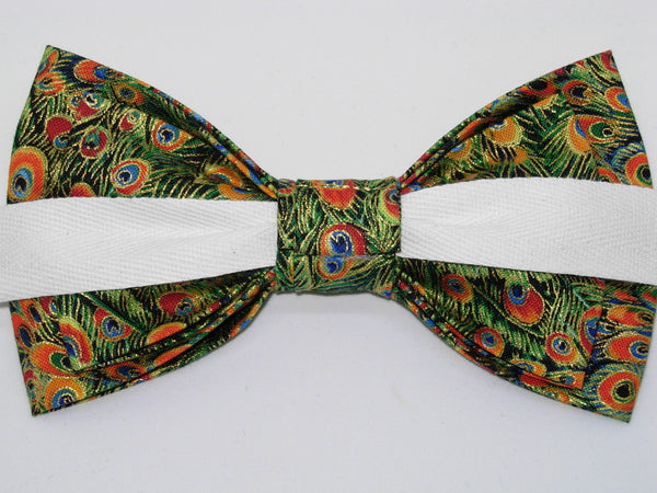 Green Peacock Bow Tie / Green Feathers with Metallic Gold Trim / Self-tie & Pre-tied Bow tie - Bow Tie Expressions